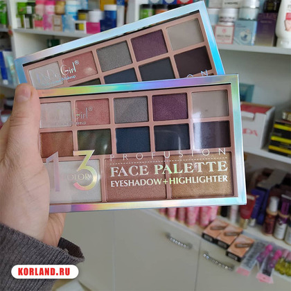 Dodo Girl 13 Color Profusion Face Palette Eyeshadow + Highlighter (Набор Теней и Хайлайтеров)